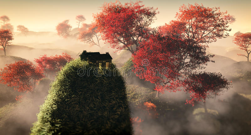 Aerial of fantasy grassy hill landscape with red autumn trees and lonely house on rock. vector illustration