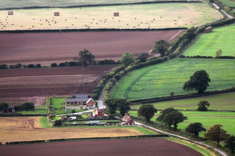 Aerial farm buildings and fields stock photos
