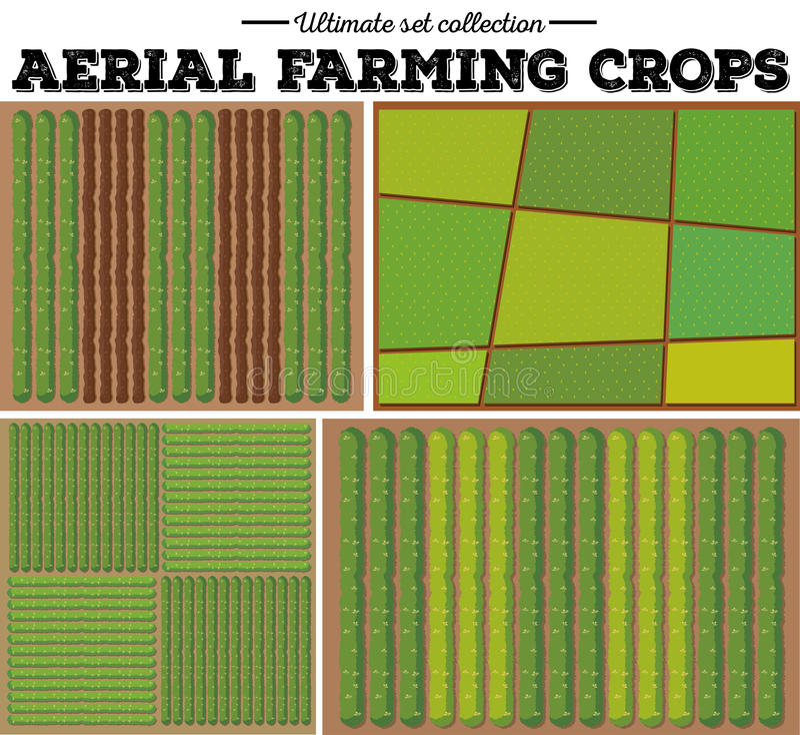 Aerial farming crops pattern stock illustration