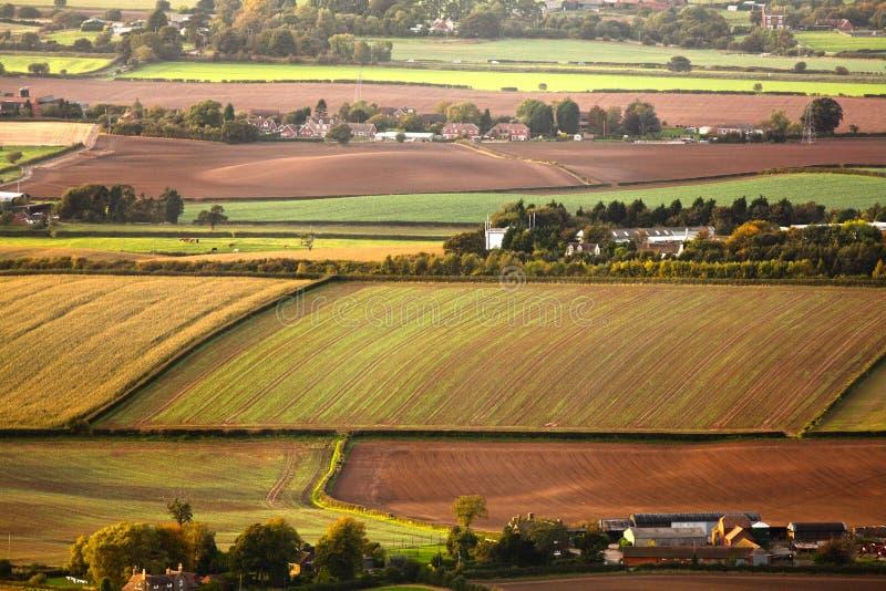 Aerial farmland fields stock photo