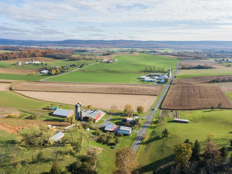 Aerial of Farmland Surrounding Shippensburg, Pennsylvania during stock image