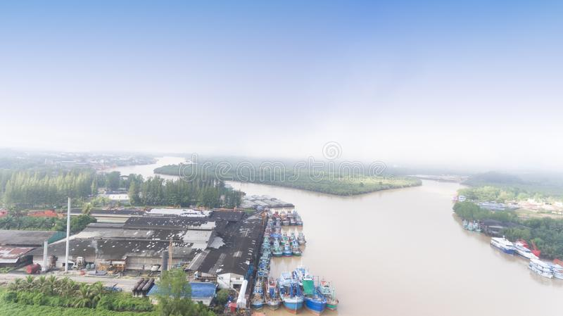 Aerial fisherman port in South of Thailand royalty free stock image