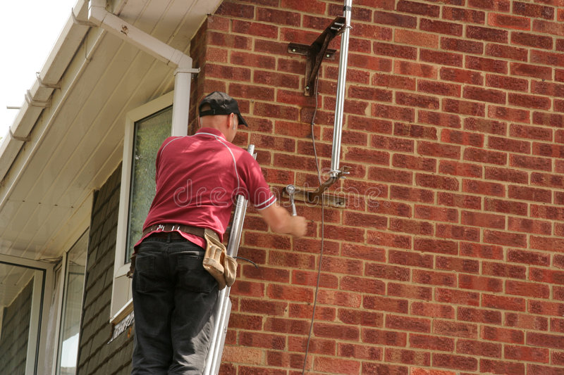 Download Aerial fitter on ladder stock photo. Image of workman, wall - 302874