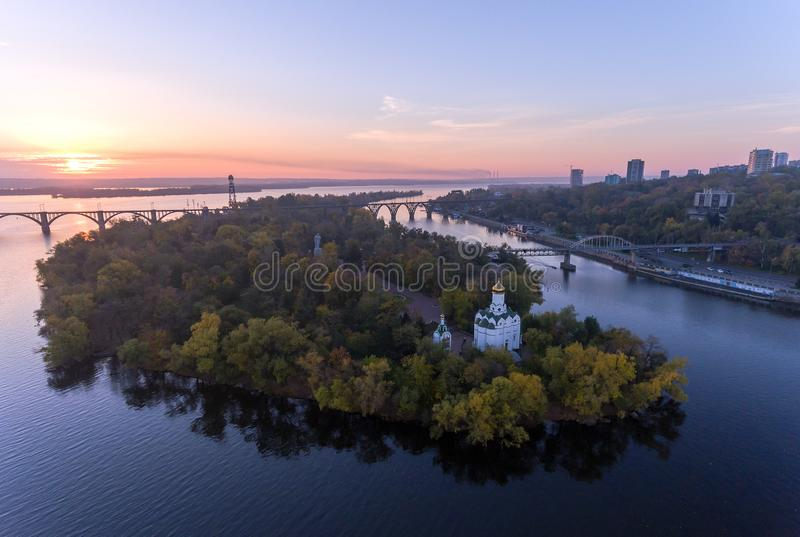Aerial Flight over the Christian Church in the Monastic island, Dnepr City, Ukraine Dnipro, Dnepropetrovsk stock photo