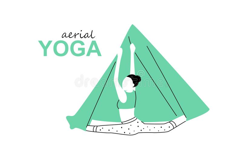 Aerial, fly yoga logo template. Anti-gravity yoga minimalistic business card design. Vector illustration.  royalty free illustration