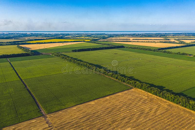 Aerial Flying over fields with straw bales at harvesting time, sunflowers and maize or corn, sunset time, top view. Far village stock photography