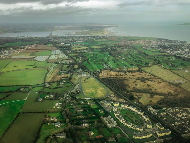 Aerial View of Countryside and Coast in Ireland stock images