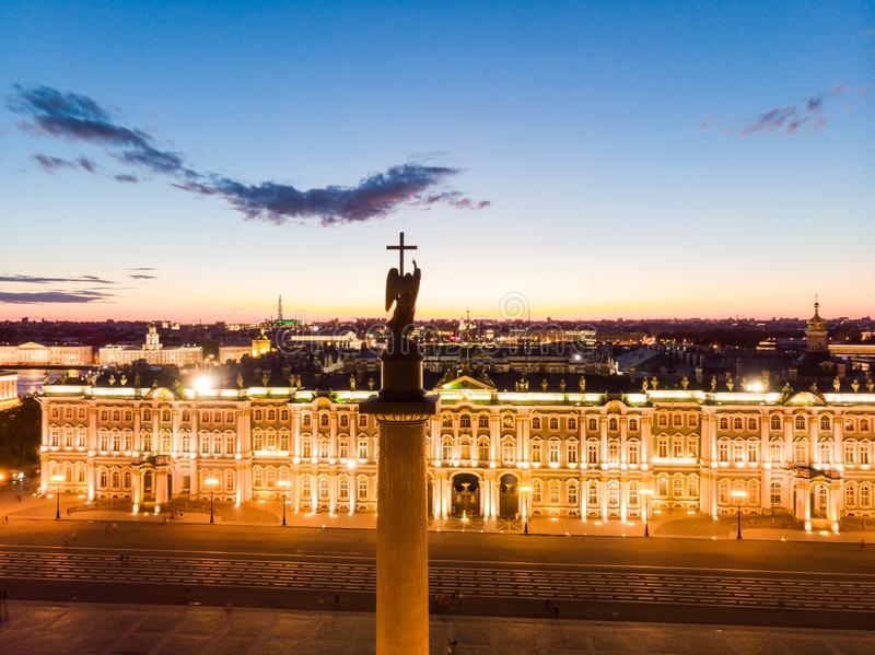 Aerial front view at the Winter Palace building in white nights, exterior Palace Square and Aleksandr Column at summer. Top view. Aerial front view at the Winter stock photos