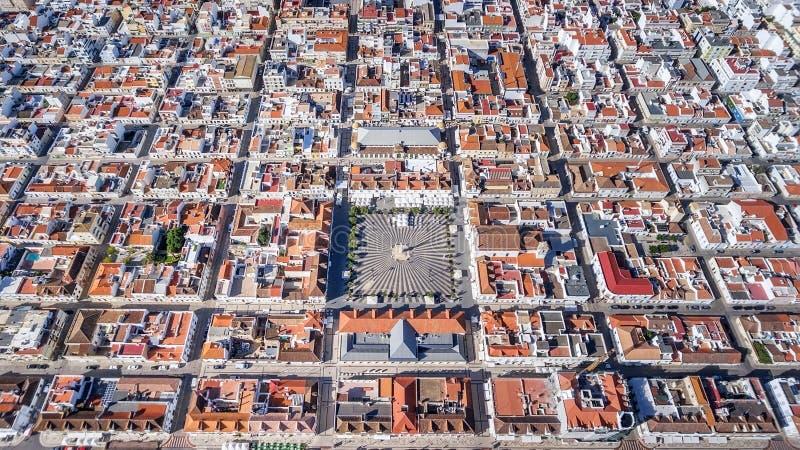 Aerial. Geometric shapes of the village Vila Real Santo Antonio from sky. Aerial. Geometric shapes of the village Vila Real Santo Antonio from the sky stock photos