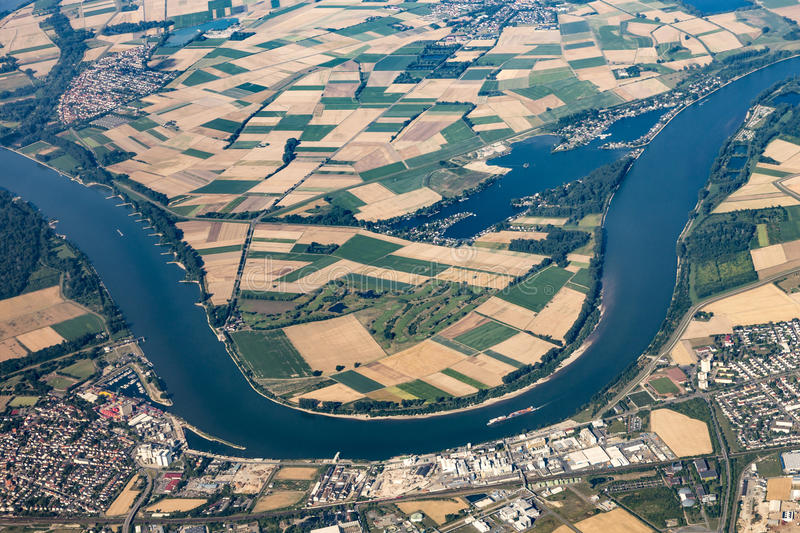 Aerial of Gernsheim at River Rhine. With Rhine valley royalty free stock photo