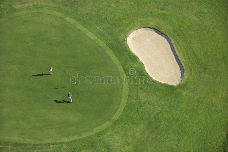 Aerial of golf course. royalty free stock photography