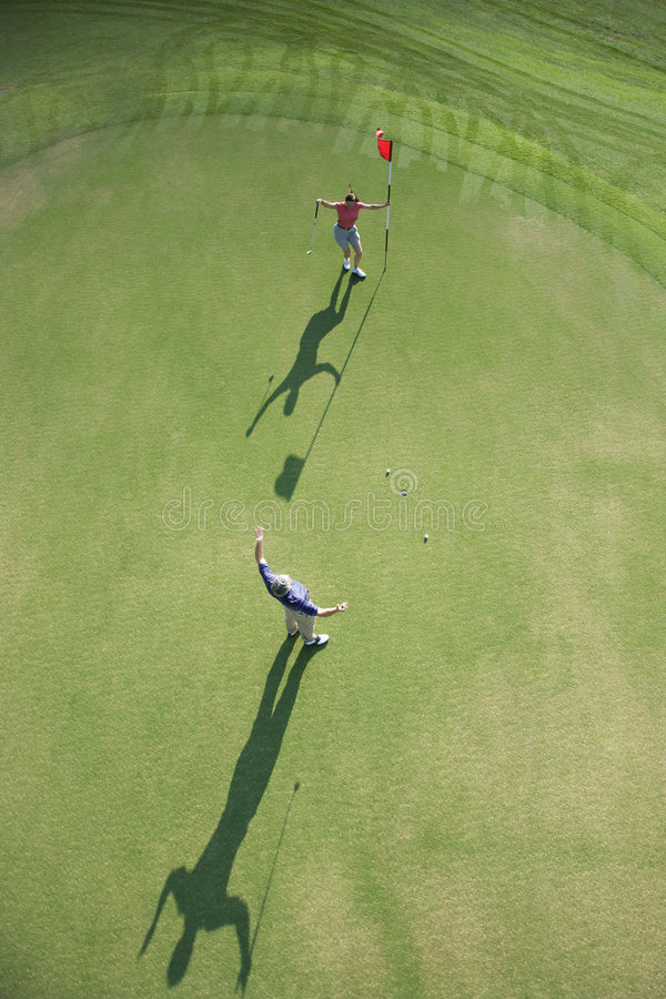 Aerial of golfers. royalty free stock photography