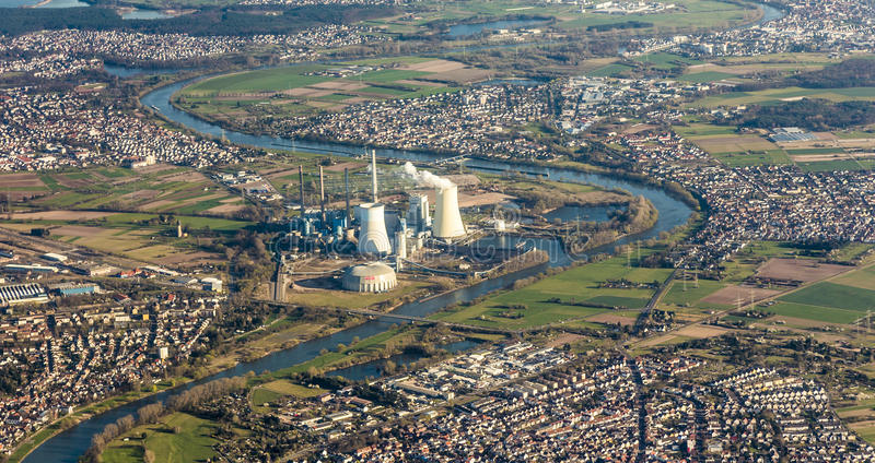 Download Aerial Of Grosskrotzenburg With Cole-fired Power Station Stock Photo - Image of hesse, village: 39500798