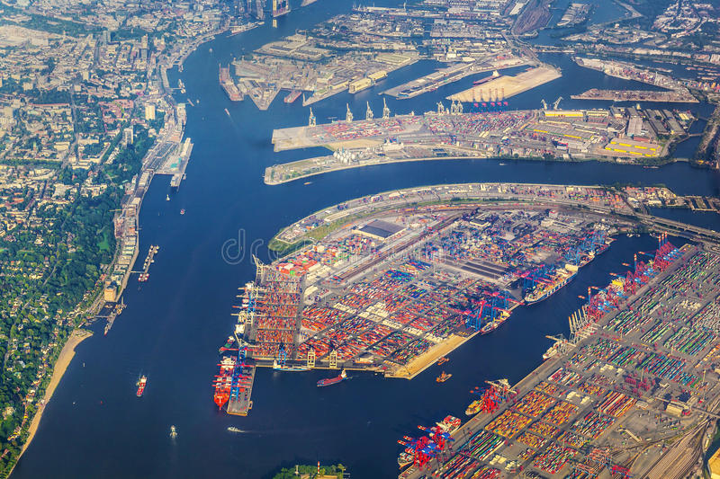 Aerial of Hamburg. Germany seen from aircraft stock photography