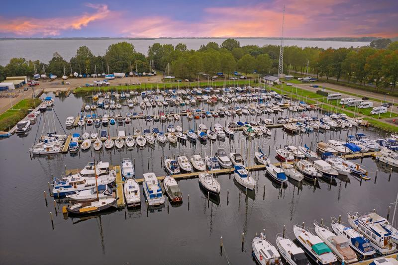 Aerial from the harbour in Almere in the Netherlands. At sunset royalty free stock image