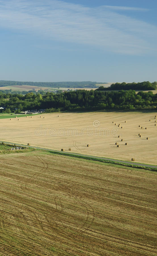 Download Aerial Of Harvest Fields In Summertime, France Stock Photo - Image: 13656698