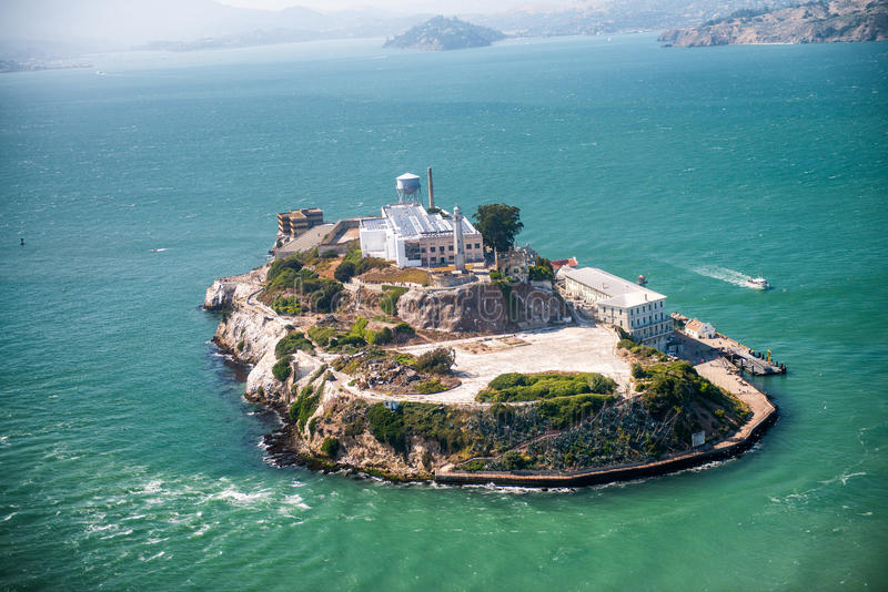Aerial helicopter view of Alcatraz Island, San Francisco.  royalty free stock photography