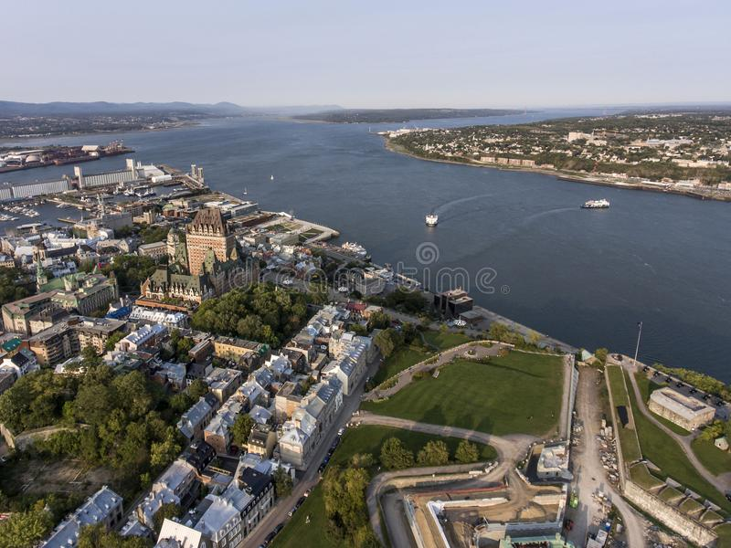 Aerial helicopter view of skyline - hotel and Old Port Saint Lawrence in Quebec City Canada. stock photos