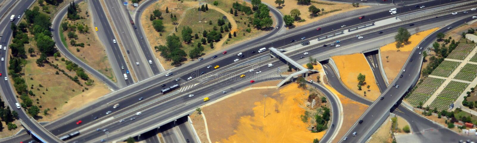 Aerial highway interchange stock photo