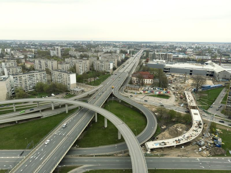 Aerial highway junction. Highway from aerial view. Urban highway and lifestyle concept stock image