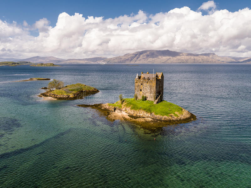 Aerial of the historic castle Stalker in Argyll. Scotland royalty free stock photography