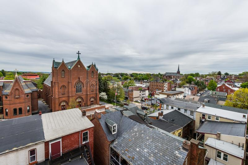 Aerial of historic downtown Lancaster, Pennsylvania with blooming trees royalty free stock photography