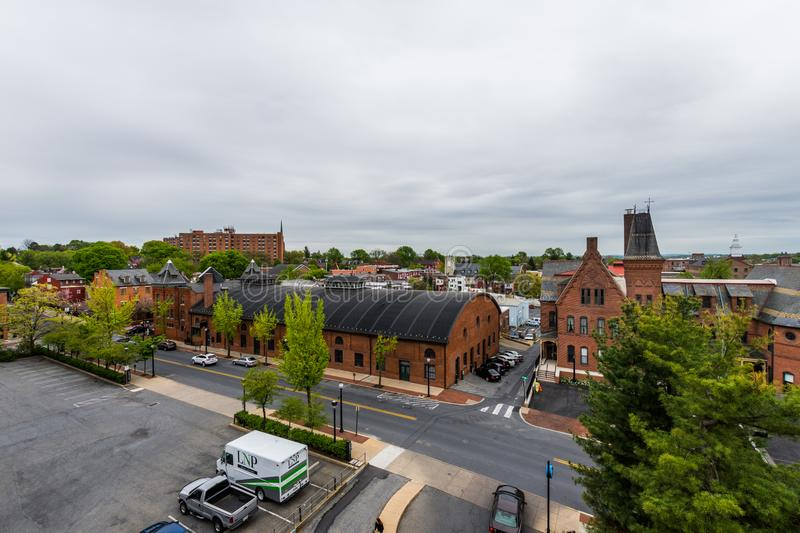 Aerial of historic downtown Lancaster, Pennsylvania with blooming trees royalty free stock photo