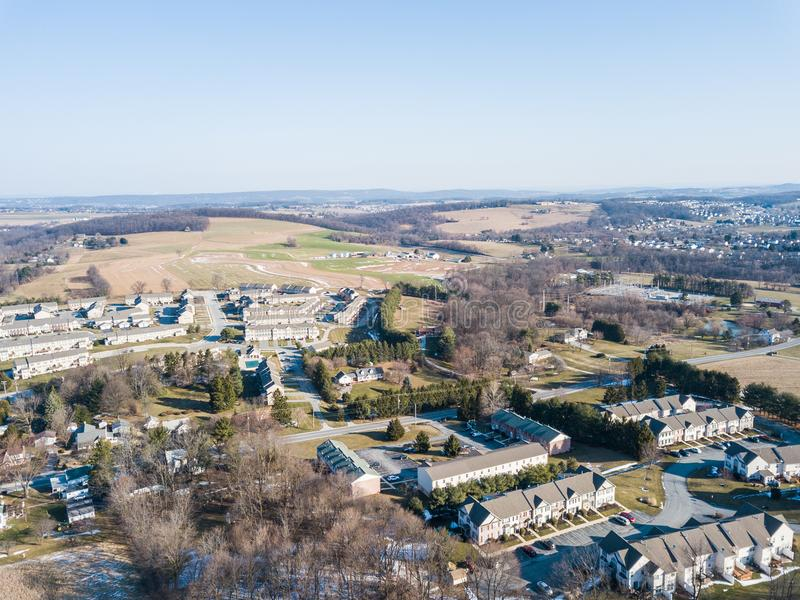 Aerial of Homes and Farmland in Red Lion, Pennsylvania in York C. Ounty royalty free stock photography