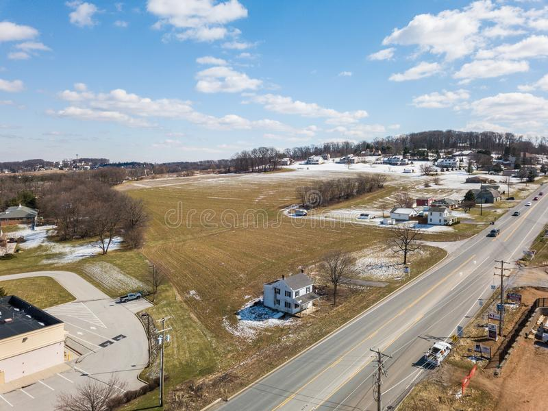 Aerial of Homes and Farmland in Red Lion, Pennsylvania in York C. Ounty royalty free stock photo