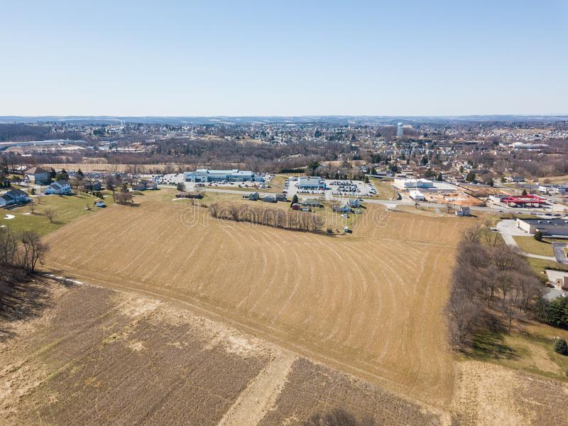 Aerial of Homes and Farmland in Red Lion, Pennsylvania in York C. Ounty royalty free stock photos