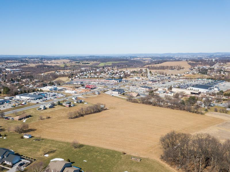 Aerial of Homes and Farmland in Red Lion, Pennsylvania in York C. Ounty royalty free stock image