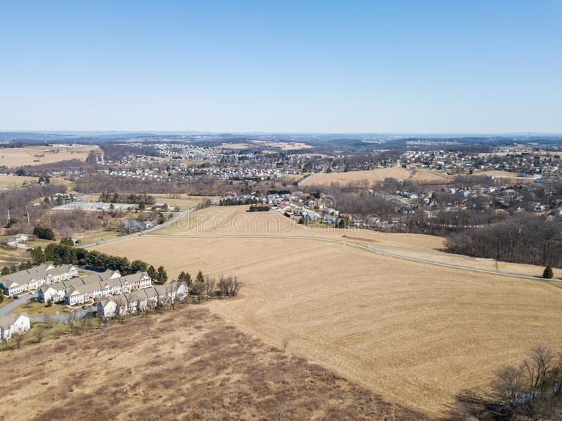 Aerial of Homes and Farmland in Red Lion, Pennsylvania in York C. Ounty stock image