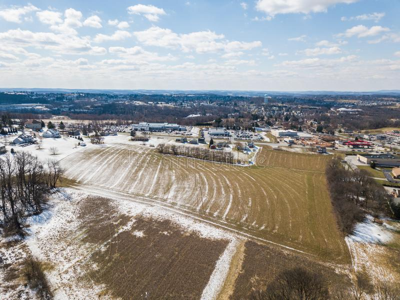 Aerial of Homes and Farmland in Red Lion, Pennsylvania in York C. Ounty stock photo
