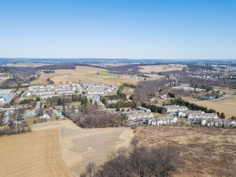 Aerial of Homes and Farmland in Red Lion, Pennsylvania in York C. Ounty stock images