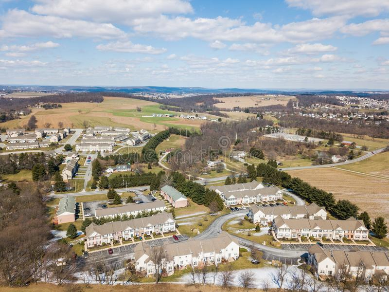 Aerial of Homes and Farmland in Red Lion, Pennsylvania in York C. Ounty stock photos