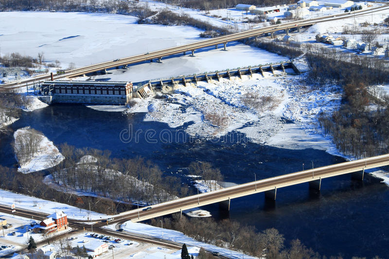 Aerial hydroelectric dam Chippewa Falls Wisconsin. An aerial view of the Chippewa River, the dam and Lake Wissota in the background in Chippewa Falls, Wisconsin stock photography