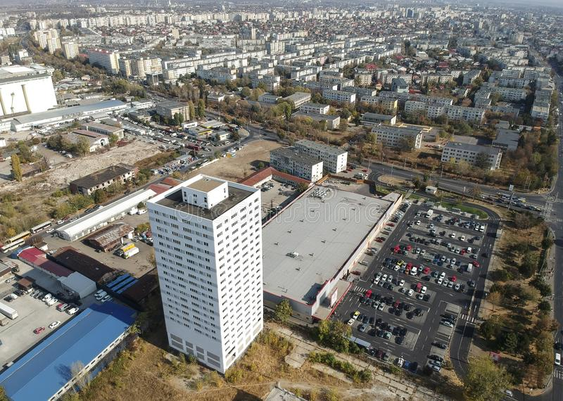 Aerial image showing apartments tower block in Ploiesti Romania stock photo