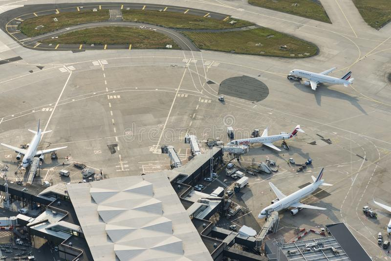 Aerial image Air France Planes at Orly Airport terminals royalty free stock images