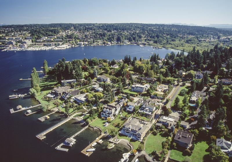 Aerial image of Bellevue area in Seattle, Washington. An aerial image of the Bellevue area in Seattle, Washington showing waterfront luxury homes stock images