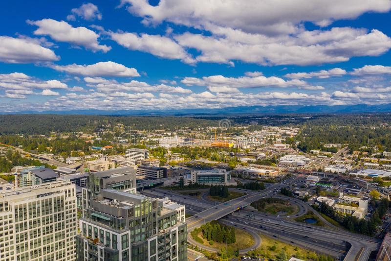 Aerial image of Bellevue Washington USA no logos. Aerial image of Bellevue Washington USA shot with an aerial drone royalty free stock photo