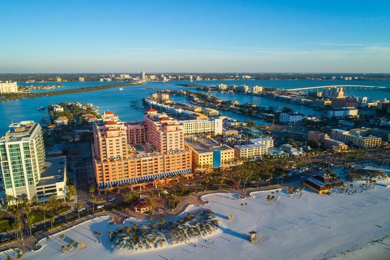 Beach resorts Clearwater Florida USA. Aerial image of Clearwater Beach Florida resorts and condominium apartments stock photography