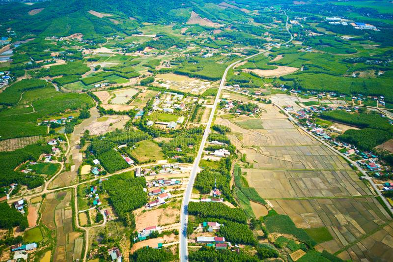 Aerial image of a countryside in Nghe An province, Vietnam royalty free stock photos