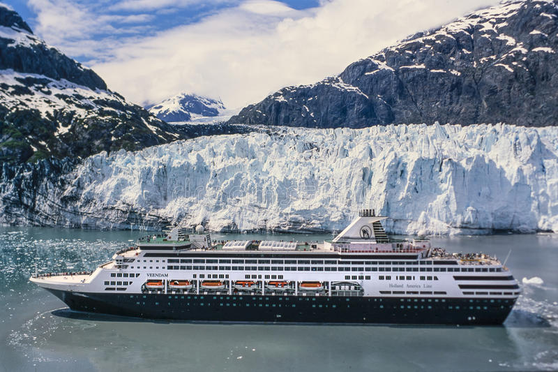 Aerial image of cruise ship in Alaska stock images
