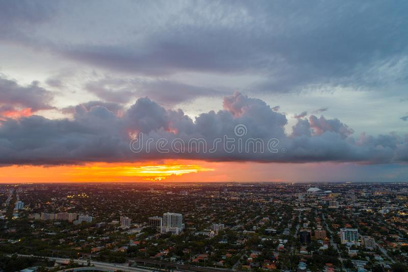 Aerial image Florida storms in May. Aerial tropical storm clouds in Miami Florida stock photography