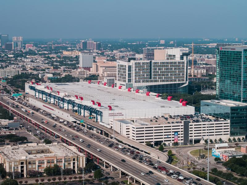 Aerial image of the George R Brown Convention Center Houston Tex. Houston, TX, USA - March 15, 2019: Aerial drone image of the George R Brown Convention Center royalty free stock photo