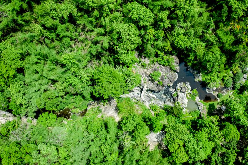 The aerial image of a high angle image in a national park sees green trees covered throughout the area in the middle, with rocks. And streams stock photos