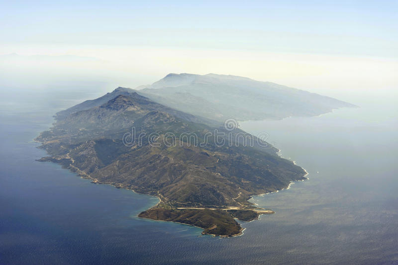 Aerial image of Ikaria royalty free stock photography