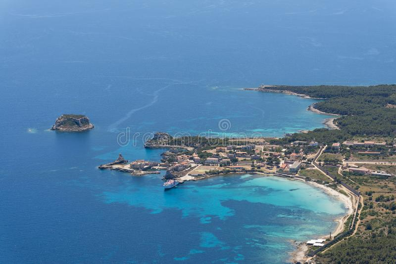 Aerial image of Isola de Pianosa Pianosa Island. A former penal colony island established by Leopold II, Grand Duke of Tuscany in 1856. Pianosa had hosted royalty free stock images