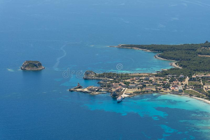 Aerial image of Isola de Pianosa Pianosa Island. A former penal colony island established by Leopold II, Grand Duke of Tuscany in 1856. Pianosa had hosted royalty free stock photos