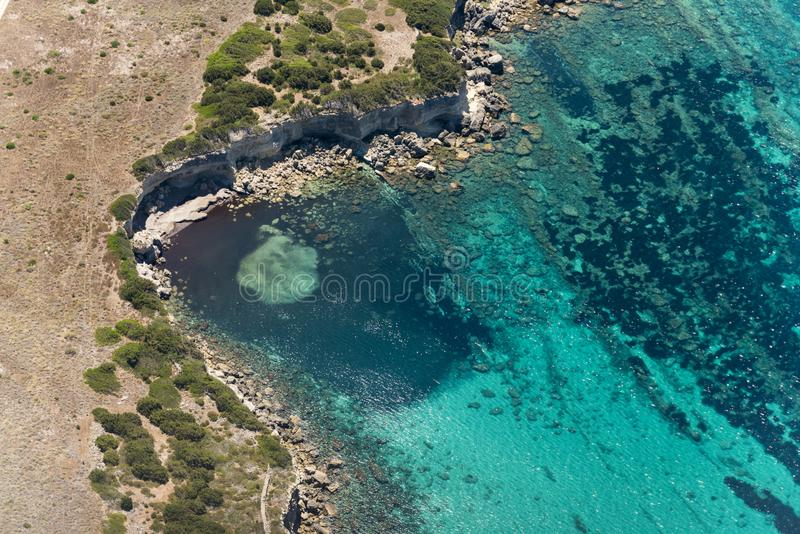 Aerial image of landscapes at Isola di Pianosa. In the Tyrrhenian Sea royalty free stock image